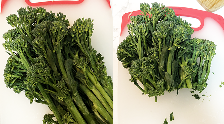 Chop the ends of the stems off the fresh broccolini.]