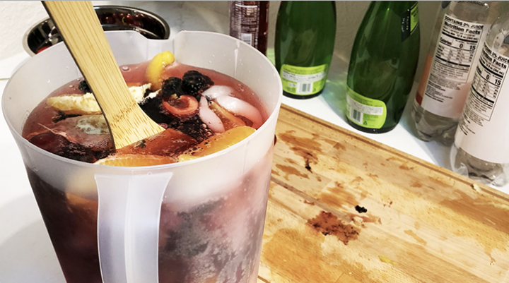 Add in a colored sparkling water to give the sangria a pop of color.