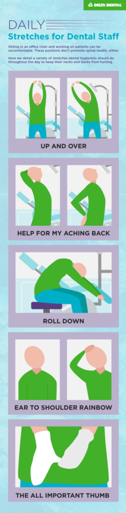 Take breaks during the day to realign and stretch with our list of stretch remedies for back and neck pain.