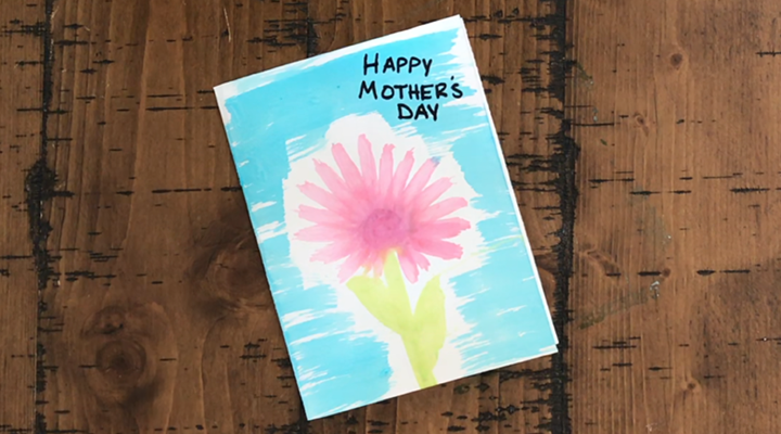 Handcrafted Mother's Day Card with Recycled Toothbrushes and Homemade Paint